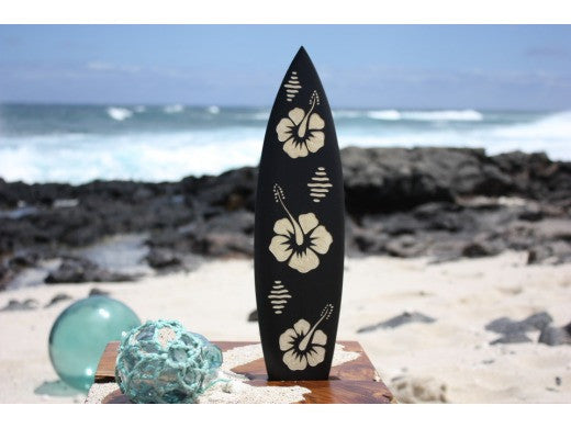 "Surfboard w/ Hibiscus Flowers 16"" - Trophy"