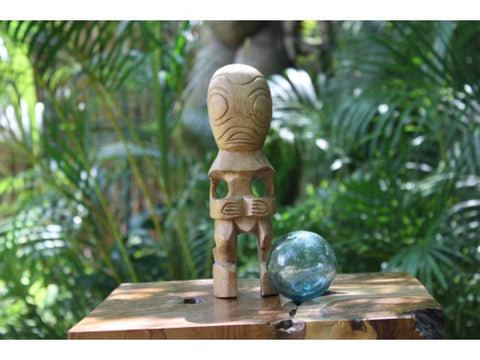 "Fisherman's Good Luck Tiki Totem 8"" Natural - Hawaiian Tiki Bar Decor"