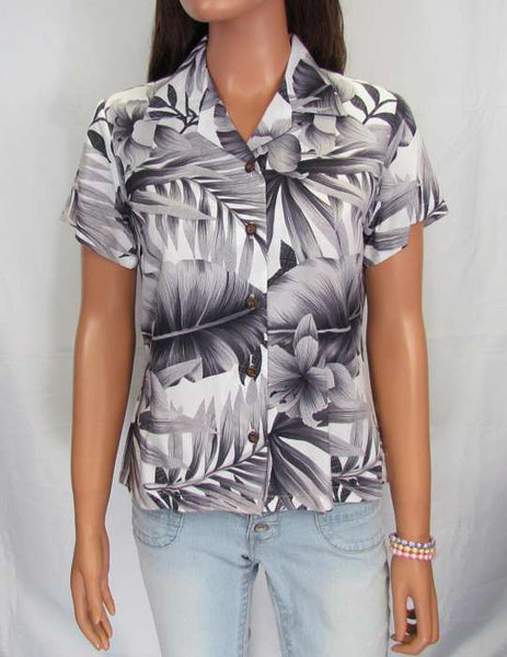Women's Hawaiian Blouse - Hibiscus Flower