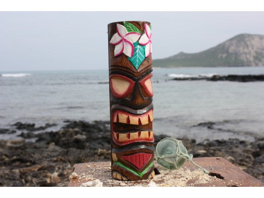 "Tiki Totem 8"" w/ Flowers - Hand Carved & Painted"