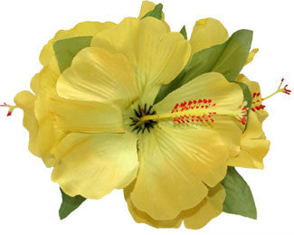 3 Hibiscus Cluster Yellow Flower Silk Hair Clip