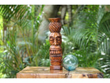 "Pineapple Tiki Totem 8"" Stained - Hawaiian Tiki Bar Decor"