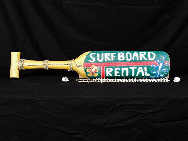 """Surfboard Rental"" Hanging Paddle 32"" - Surf Decor"