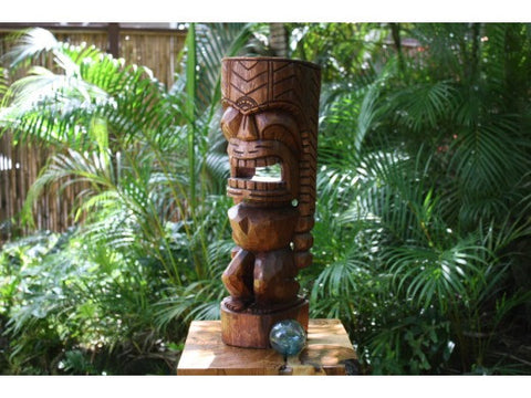 "Carved Ku Tiki 20"" - Stained Monkey Pod - Island Art"