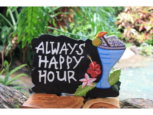 """Always Happy Hour"" with Cocktail Sign - Black - Tiki Bar Decor"