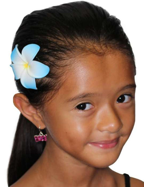 White Blue Small Flower Hair Clip Plumeria
