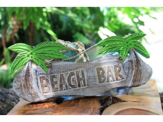 "Rustic ""Beach Bar"" Tiki Bar Sign w/ Palm Trees"