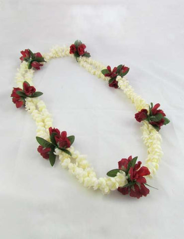 Double Pikake with Red Rosebuds Floral Silk Lei