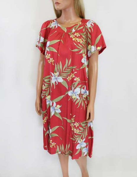 Island Short Muumuu Pali Orchid Red Dress