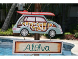 """Surf's Up, Aloha"" Woody Car Sign - Surf Decor"