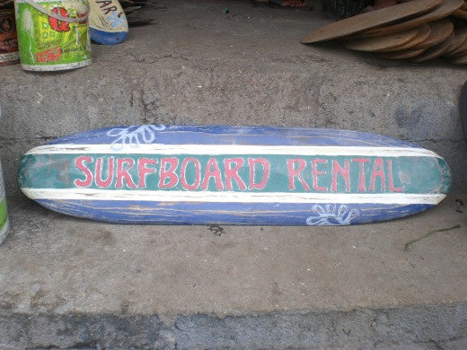 """Surfboard Rental"" Wooden Surf Sign 40"" Hand Made"