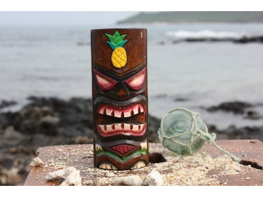 "Tiki Totem 6"" w/ Pineapple - Hand Carved & Painted"