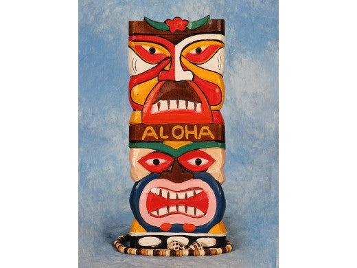 "Tiki Mask 12"" Wall Plaque - Colorful Painted Tiki"