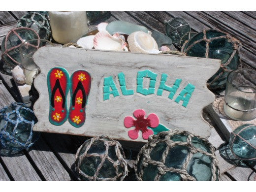 """Aloha"" W/ Slippers - White Washed Driftwood Sign 12"""