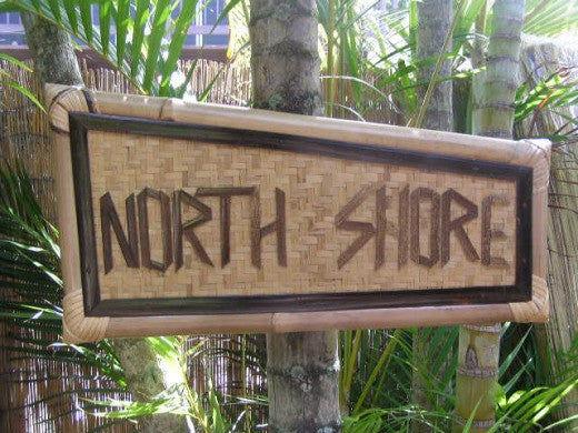 "Bamboo Tiki Sign ""North Shore"" - Hawaiian Gifts"