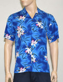 Blue Hawaii Rayon Shirt Orchids