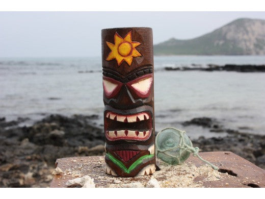 "Tiki Totem 8"" w/ Sunny Hawaii - Hand Carved & Painted"