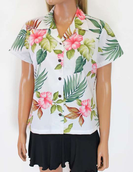 Women's Hawaiian Cotton Shirt - Hawaiian Bouquet