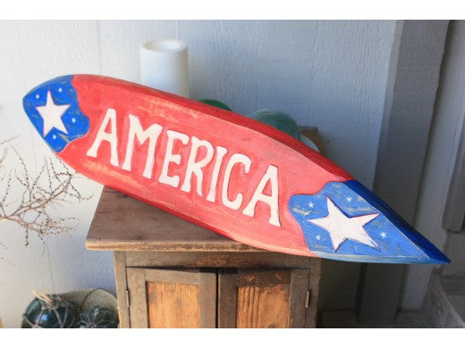 "Americana Surf Sign ""America"" - Hand Carved 40"" - USA"