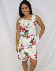 Short Sarong Dress in Rayon Lanai Monstera