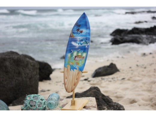 "Surfboard w/ Stand Island Sealife Design 16"" - Trophy"