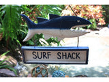 """Surf Shack"" Shark Attack Sign Tiki Bar - Surf Decor"
