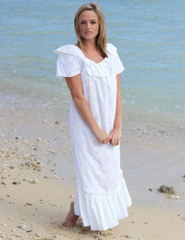 Long Ruffle White Muumuu Hawaiian