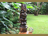 "Love Tiki Totem 26"" Stained - Hand Carved 
