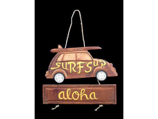 """Surf's Up, Aloha"" Woody Car Sign 15"" - Tiki Bar"