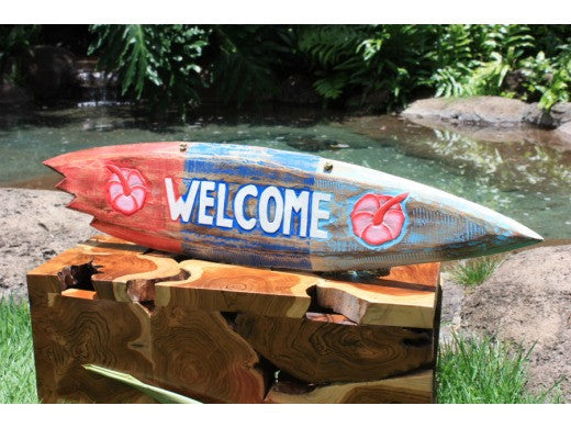 """Welcome"" Shark Bite Surf Sign - 40"" - Beach Decor"