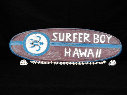 """Surfer Boy Hawaii"" Surf Sign 20"" - Weathered Surfing Decor"