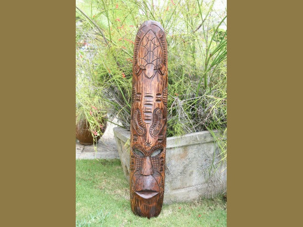 "Fijian Tiki Mask W/ Turtles & Nifo Oti - 40"" - Hawaiian Decor"