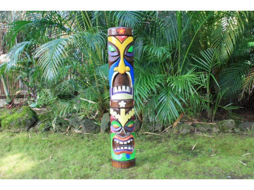 "Colorful Tiki Totem Pole 40"" - Kids Tiki Decor"