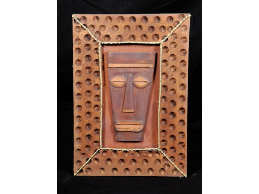 "Framed Tiki Papua Mask - 22"" X 15"" - Island Decor"
