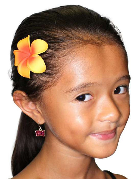 Small Single Orange Plumeria Hair Clip