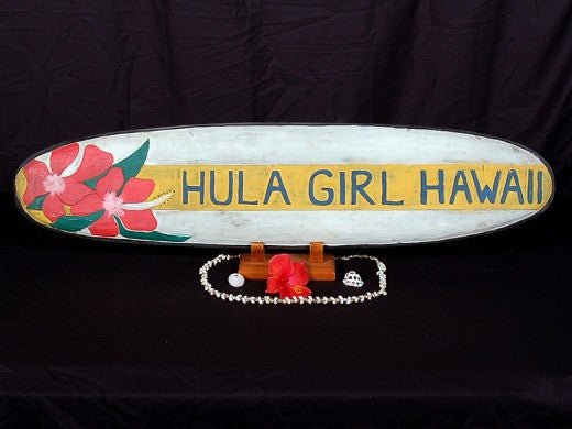 """Hula Girl Hawaii"" Surf Sign 39"" - Beach Decor"