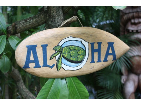 """Aloha"" Surf Sign 20"" W/ Painted & Carved Turtle"
