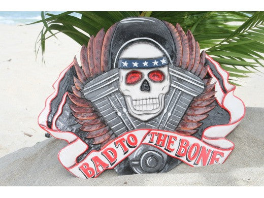 "Vintage Sign ""BAD TO THE BONE"" - 24"" X 16"" Skull Decor"
