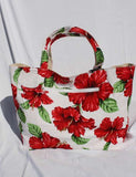 Large Designer Reversible Hibiscus Tote White Bag