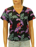Hawaiian V-Neck Rayon Blouse Jungle Bird