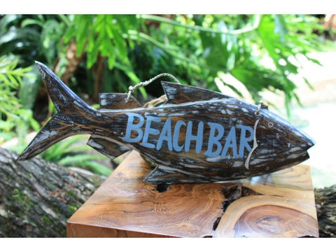 """Beach Bar"" Beach Fish Sign - 16"" - Coastal Decor"