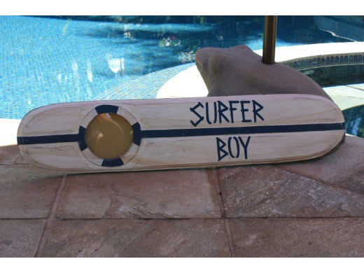 """Surfer Boy"" Nautical Sign w/ Built-In Photo frame 40"""