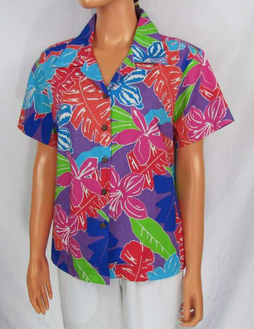 Aloha Lady Fitted Blouse - Hibiscus Carnival
