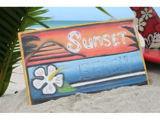 """Sunset Beach"" Surf Panel 15"" X 12"" Carved/Painted- Surf Decor"