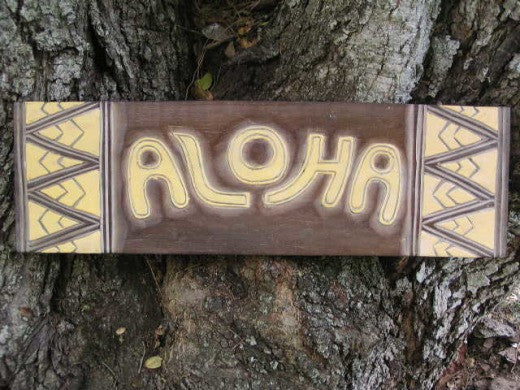 "Aloha Sign w/ Tribal Design 24"" - Hand Carved/Painted"