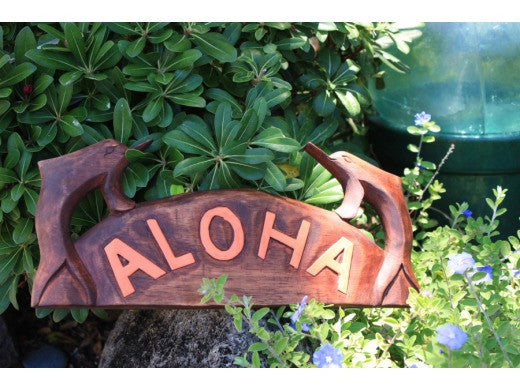 "Aloha Sign w/ Carved Dolphins 12"" - Tropical Decor"
