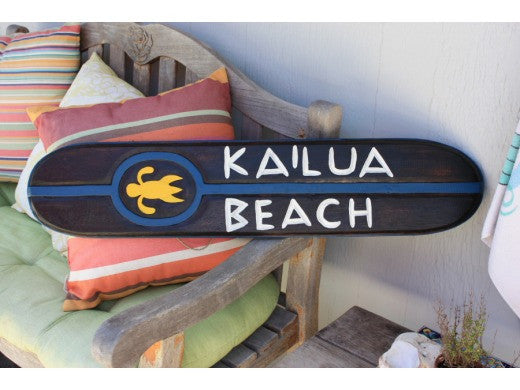 """Kailua Beach"" Wooden Sign w/ Honu 40"" - Island Decor"