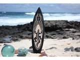 "Wooden Surfboard w/ Gecko 20"" - Surf Decor"