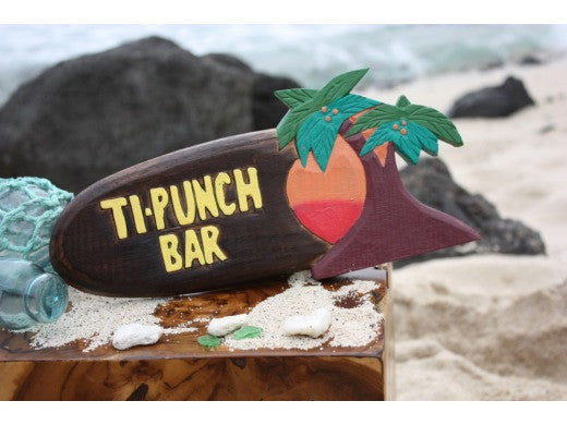 "Tiki Bar Ti-Punch Sign 12"" - Hanging Happy Hour Signage"