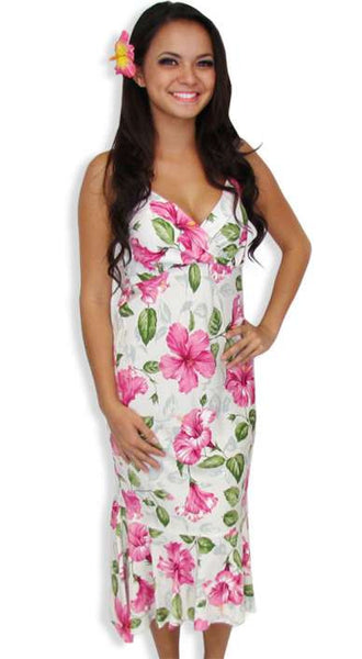 White Pi'la Hooka'ni Rayon Halter Mid Length Dress
